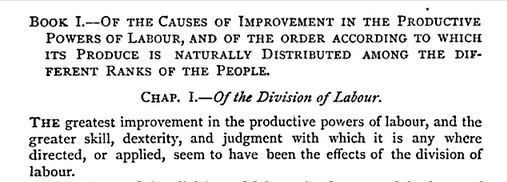 Adam Smith on division of labor