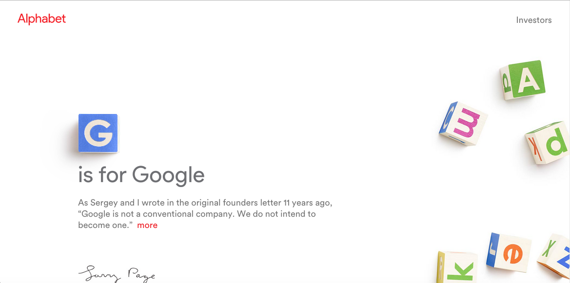 screen shot of Alphabet's home page, which is decorated with children's alphabet blocks