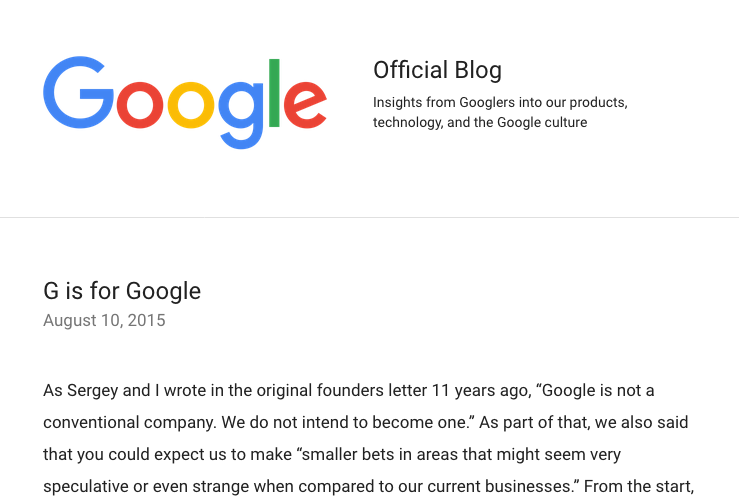 Screen shot of Google blog post announcing its new holding company, Alphabet
