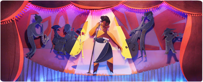 Google doodle for 25 April 2013, depicting Ella Fitzgerald