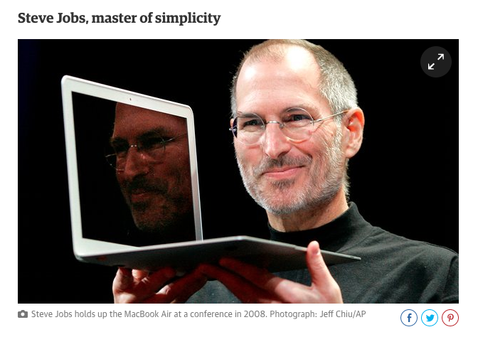 Image of Steve Jobs captioned -Steve Jobs, Master of Simplicity-