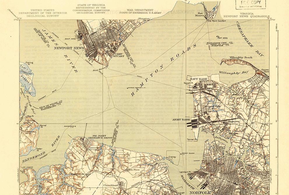 map of Hampton Roads, southeastern Virginia, 1921