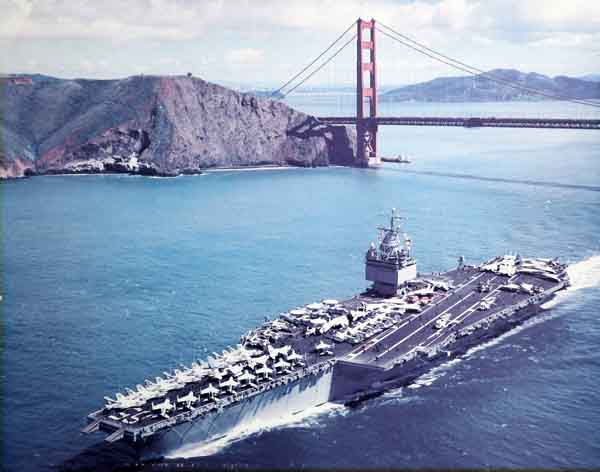 The USS Enterprise, at the Golden Gate Bridge