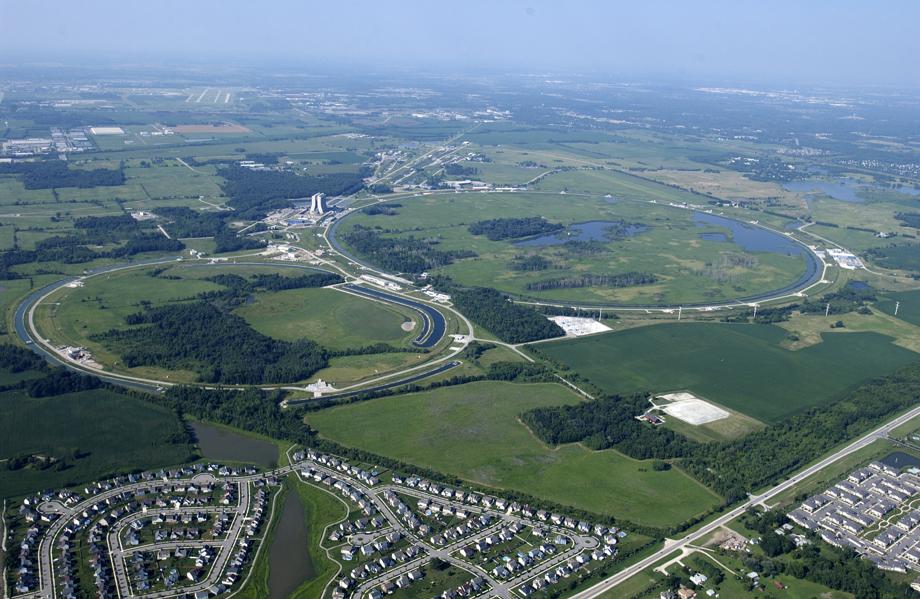 Aerial view of Fermilab, a national physics laboratory in Aurora, Illinois.