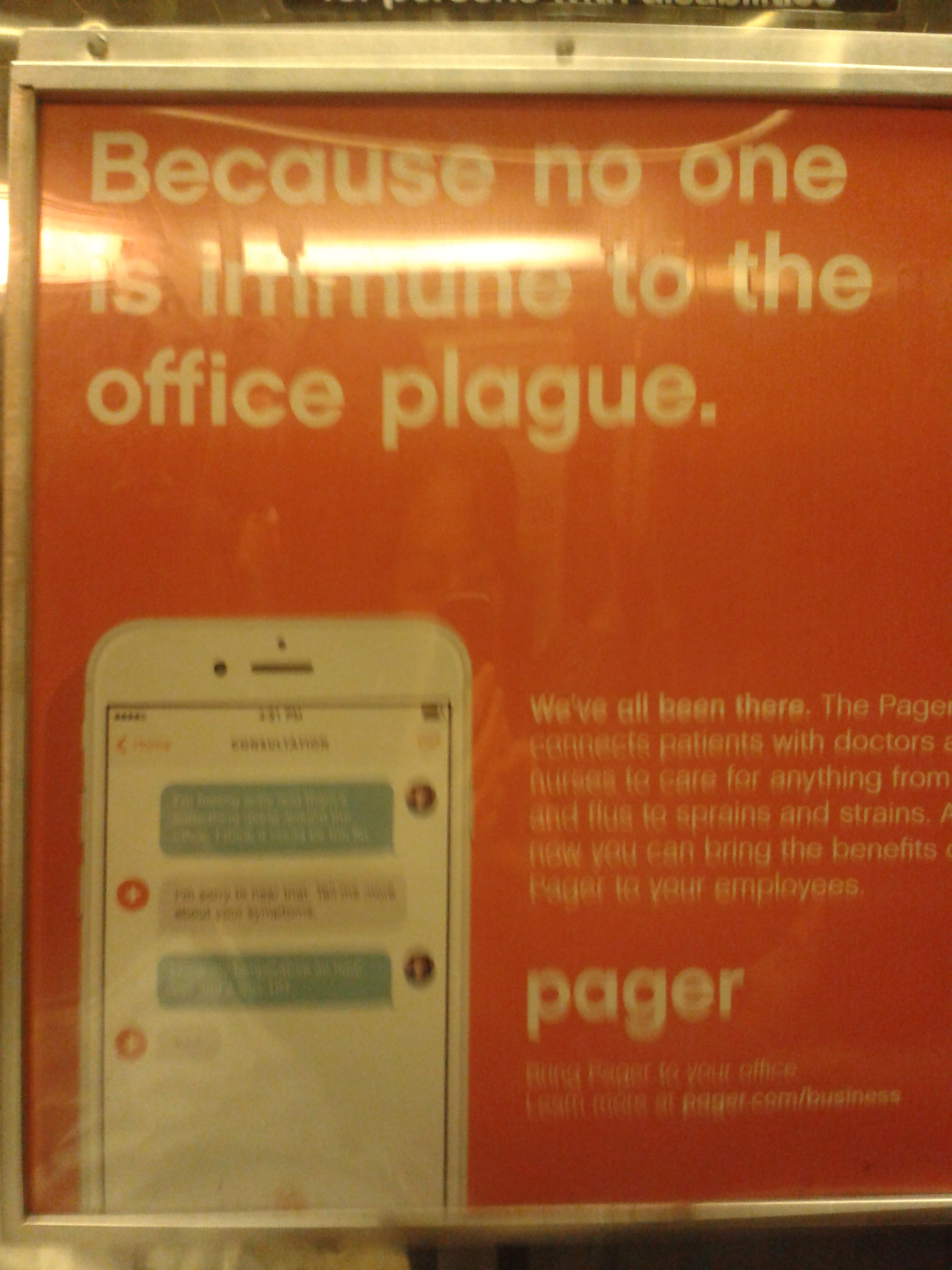 New York subway ad for Pager, close-up