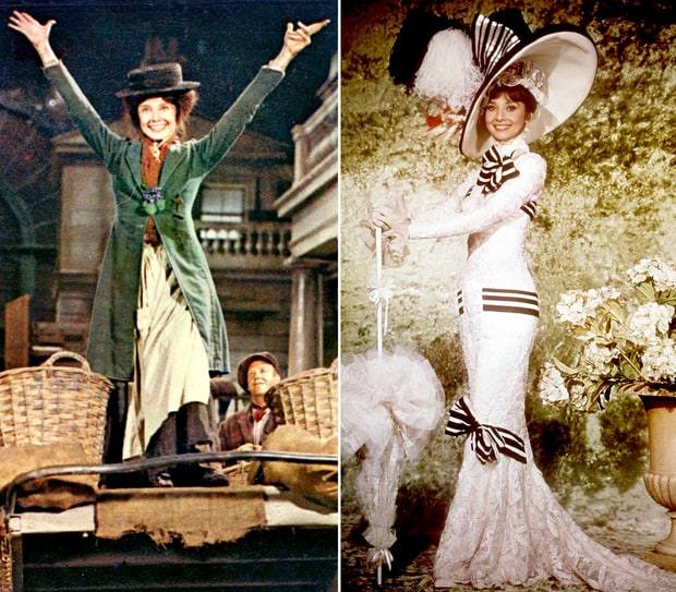 two images of Audrey Hepburn in My Fair Lady