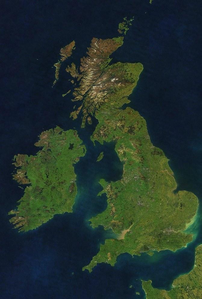 satellite image of the British Isles