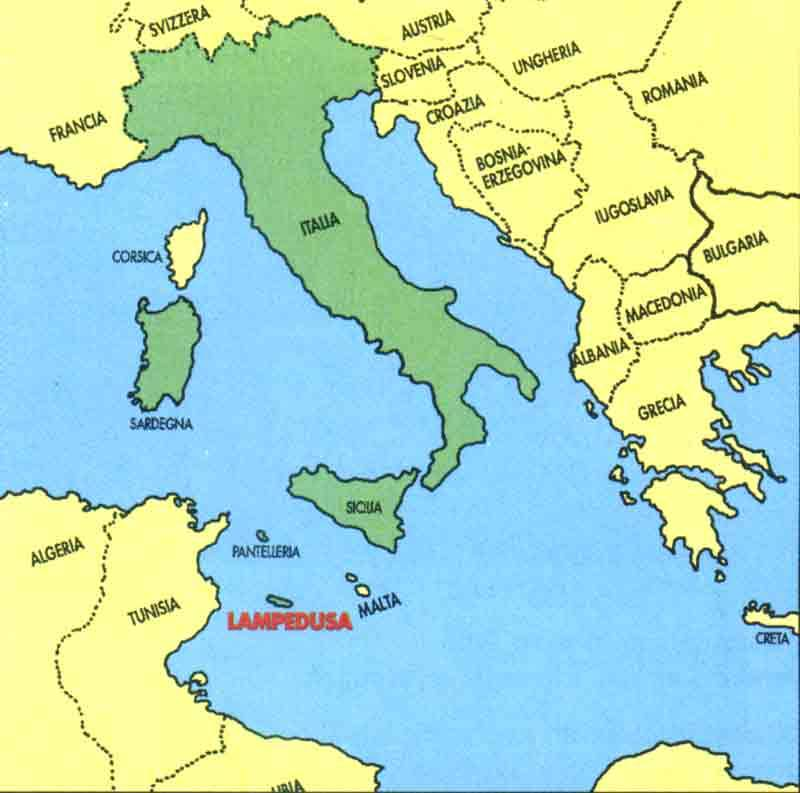 map of Italy with Lampedusa emphasized
