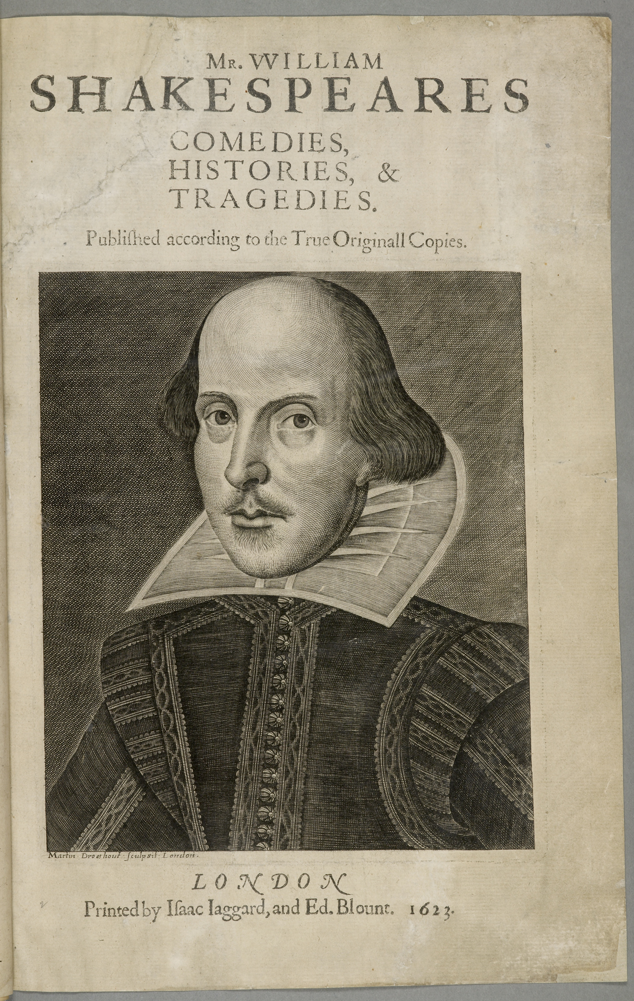 title page of the first Folio edition of Shakespeare's plays, 1623
