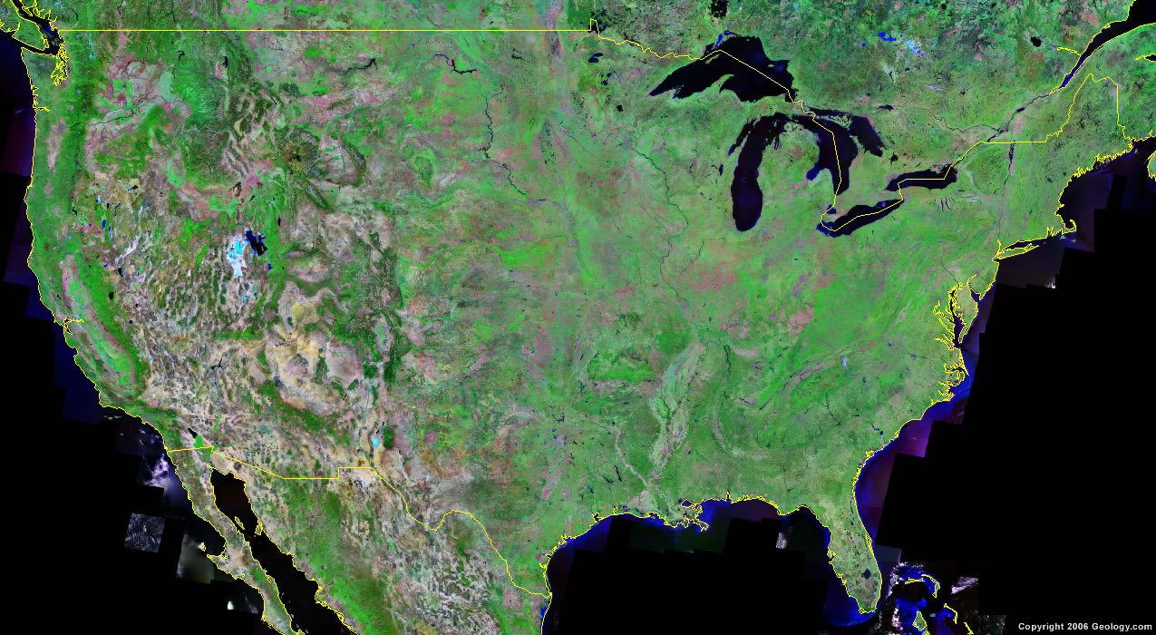 satellite image of the United States