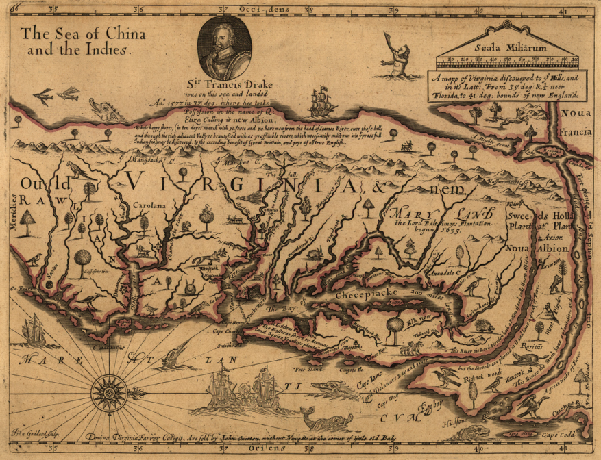 early modern map of Virginia