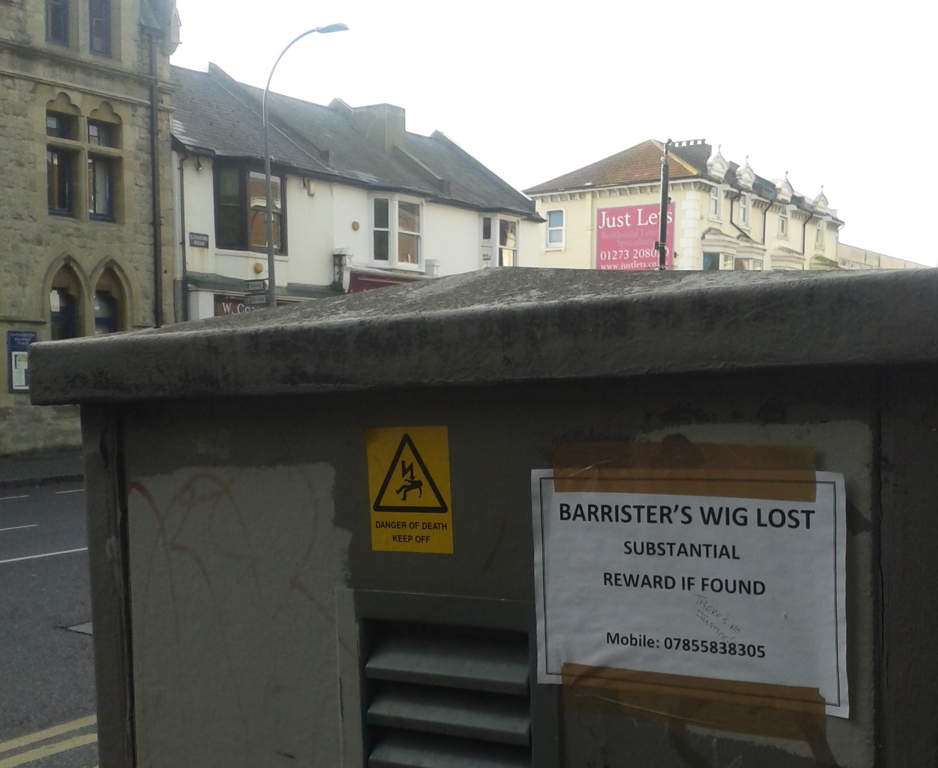 flyer advertising a lost barrister's wig, 2016