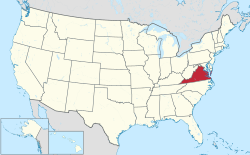 State of Virginia highlighted within US map