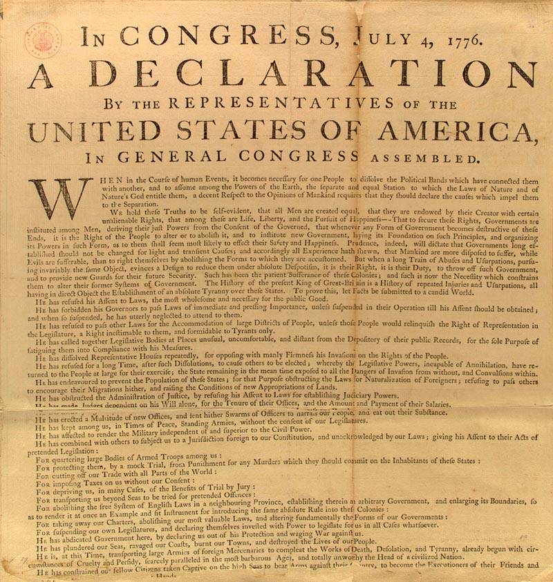 Library of Congress image of the Declaration of Independence
