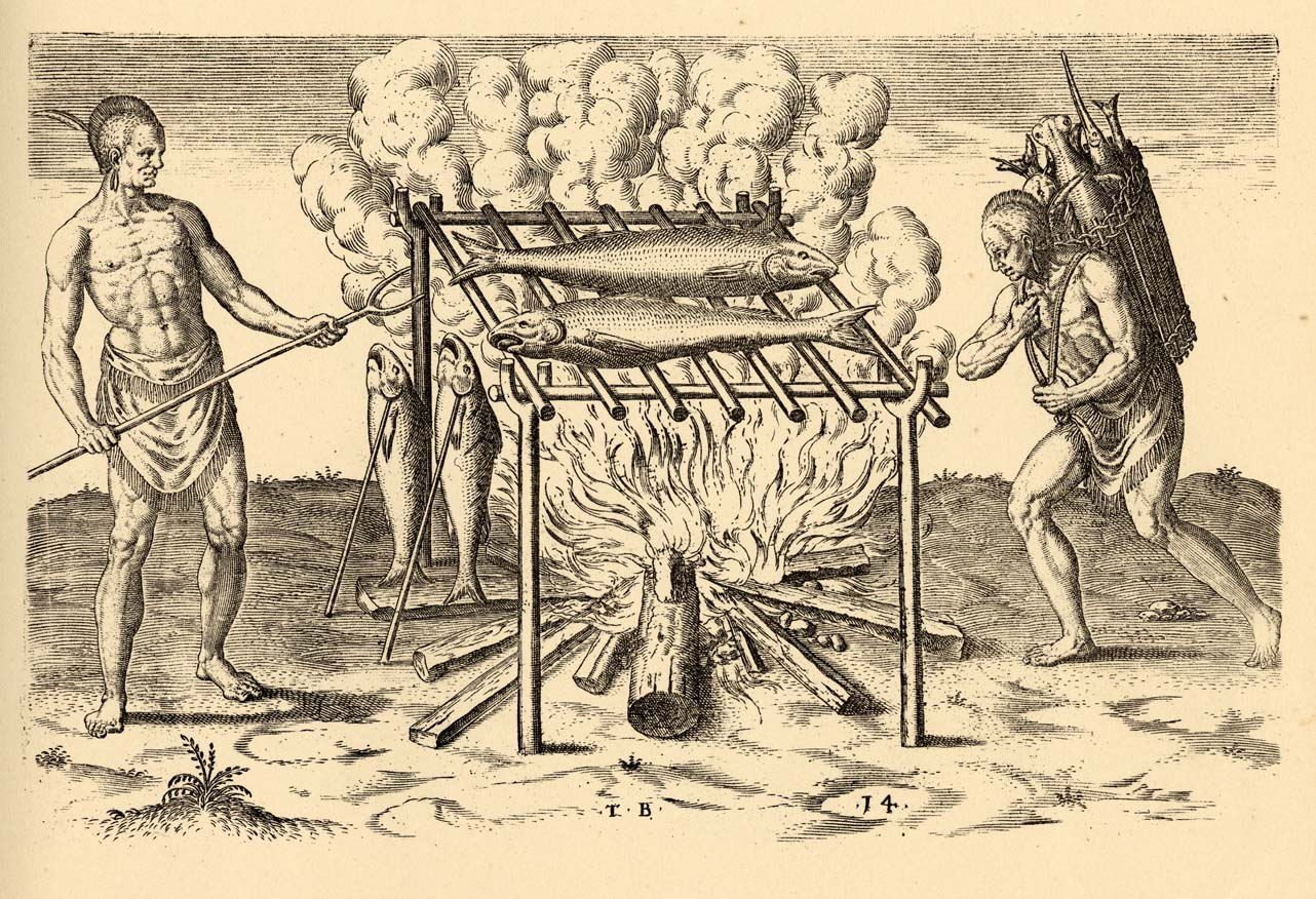 Illustration of two Native Americans cooking fish, from Thomas Hariot's A Briefe and True Report of the New Found Land of Virginia