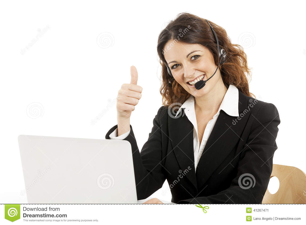 stock photograph with watermark depicting a smiling woman in a phone headset
