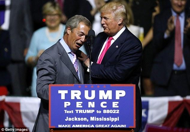 Donald Trump and Nigel Farage embracing