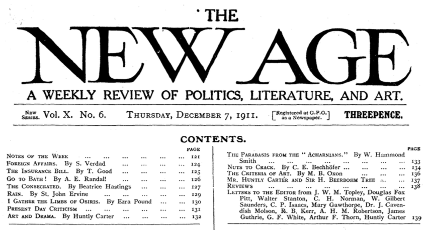 The New Age, 7 December 1911