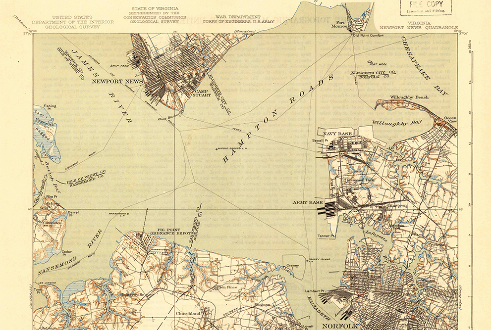 map of Hampton Roads, southeastern Virginia, 1921