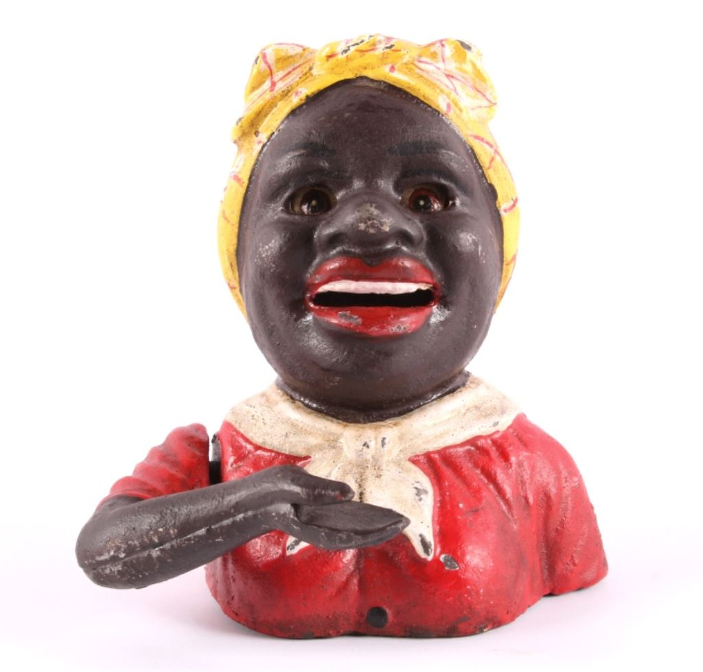 Mammy piggy bank, cast iron