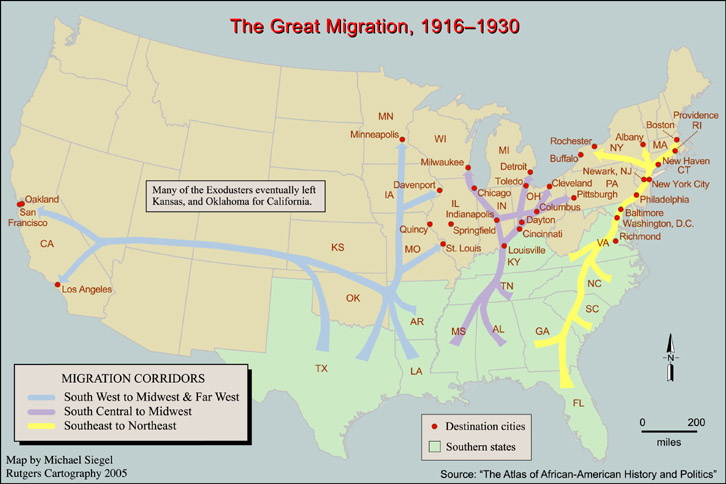 map of the first Great Migration