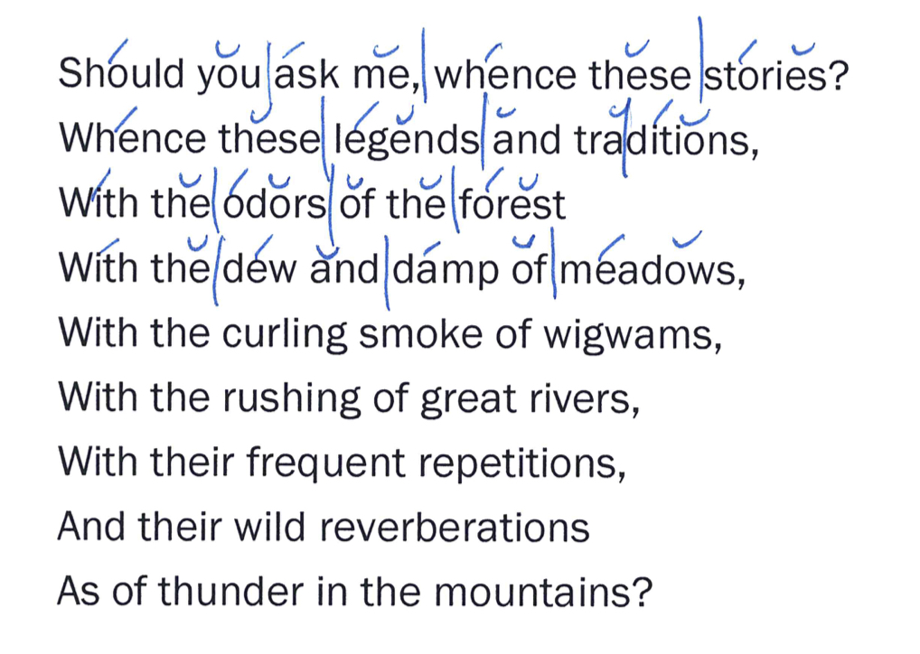 scanned first lines of Henry Wadsworth Longfellow's Song of Hiawatha