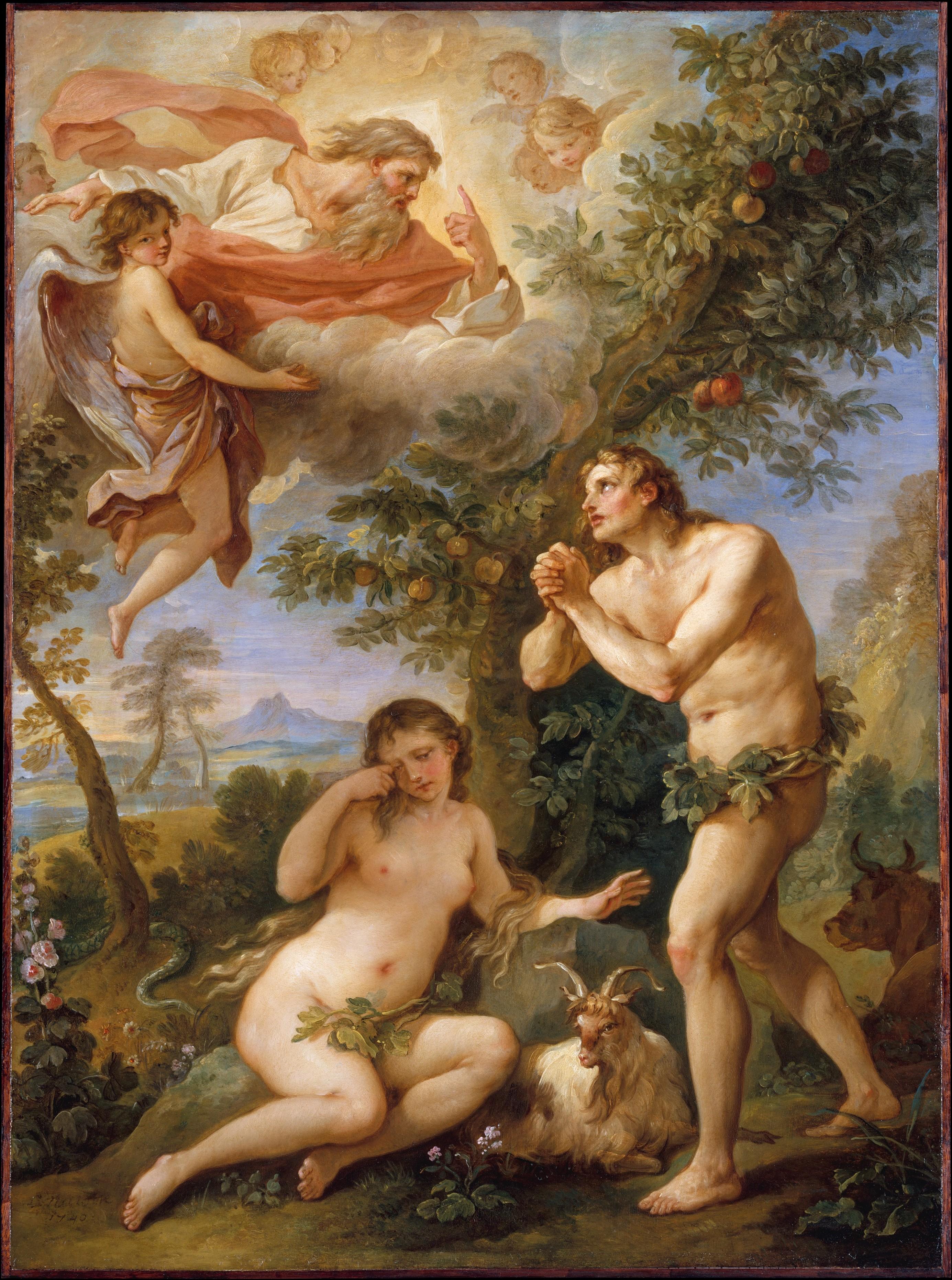 Charles Joseph Natoire, The Rebuke of Adam and Eve, 1740.