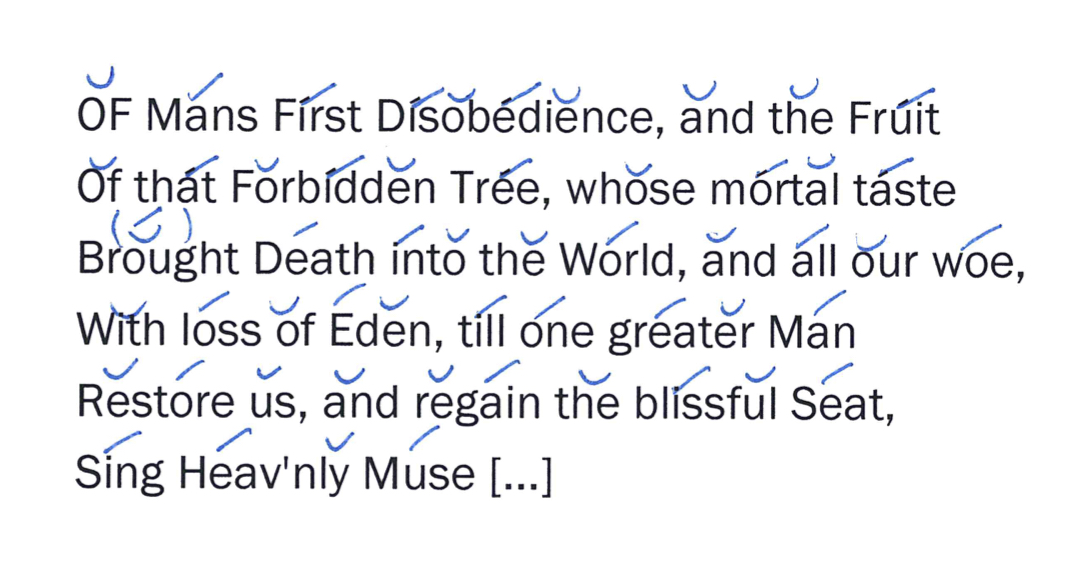 word and sentence stress in the opening of Paradise Lost