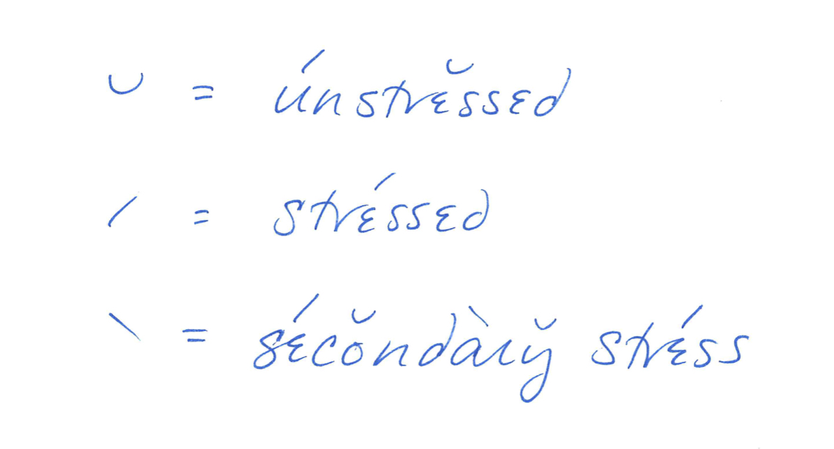 a curve indicates an unstressed syllable; an acute accent mark indicates a stressed syllable