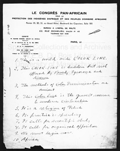 Notes for W. E. B. Du Bois's speech at the Pan-African Congress, Paris, 1919