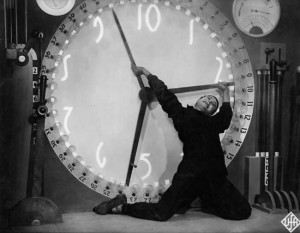 In Fritz Lang's Metropolis (1927), strenuous labor is figured as literally being on the clock.