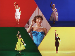 "After a series of variations on ""Embrace Me,"" each danced in a different costume and style, Lise (Leslie Caron) is displayed five ways at once."