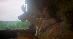 Still of Prince Herbert declaring his love for singing in Monty Python and the Holy Grail, 1975.