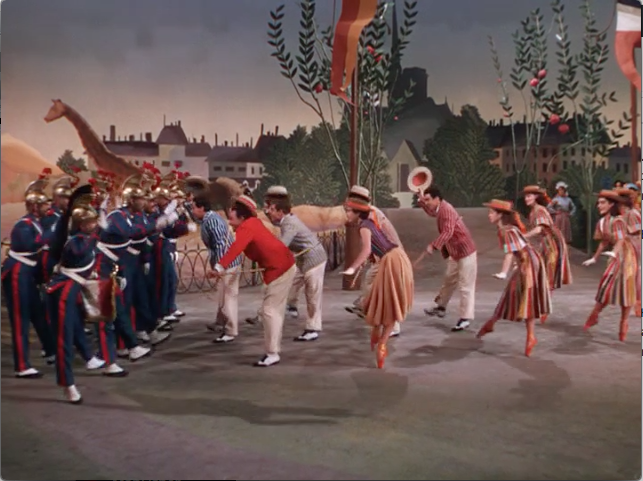 In contrast, the film's version is filled with props and costume changes. Gene Kelly is in red; Leslie Caron is the female dancer in the middle foreground.